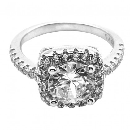 Elfi 925 Genuine Silver Engagement Ring P47 - Cushion Cut Solitaire