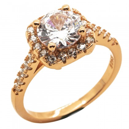 Elfi 925 Genuine Silver Engagement Ring P47 (Rosegold) - Cushion Cut Solitaire