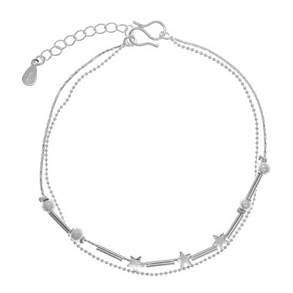 Elfi Silver Plated Star Ball Charm Ladies Anklet SA01-P