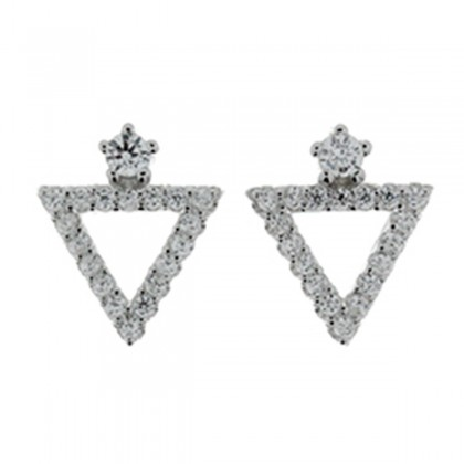 : Elfi Genuine White Gold Silver Triangle of Existence Stud Earrings SGE12